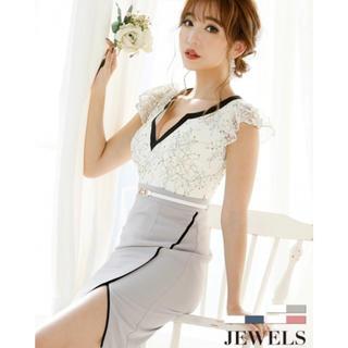 JEWELS - Jewelsドレス 白×グレーS