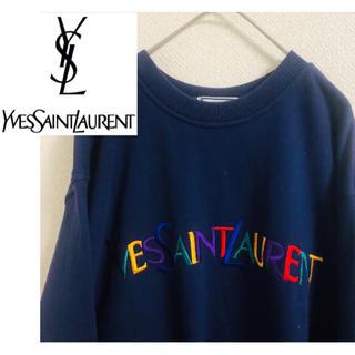 Saint Laurent - 即完売品! YVES SAINT LAURENT  紺色 刺繍入り スウェット