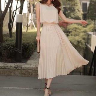圧倒的美しさ♡パーティー ドレス ワンピース 切替え シフォン プリーツスカート(ロングドレス)
