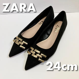 ZARA - 【美品】ZARA ザラ パンプス ブラック ゴールド 24cm  ブランド