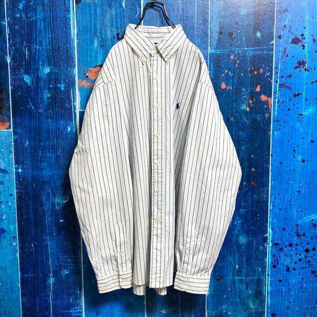 Ralph Lauren(ラルフローレン)の【ラルフローレン】ワンポイント刺繍ロゴペンシルストライプシャツ 90s メンズのトップス(シャツ)の商品写真