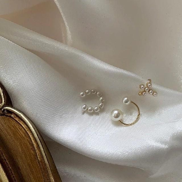 パール イヤーカフ ゴールド ピアス イヤリング 多部未華子 3点セット 結婚式 レディースのアクセサリー(イヤーカフ)の商品写真