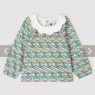 プチバトー(PETIT BATEAU)のプチバトー♡秋冬新作 衿付きプリントブラウス 36m 新品(Tシャツ/カットソー)
