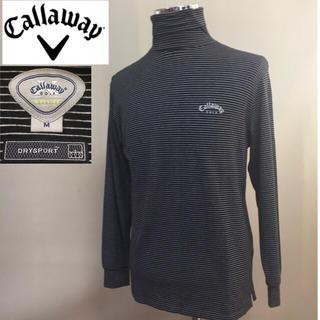 キャロウェイゴルフ(Callaway Golf)のキャロウェイ 長袖 ハイネック ブラック×ホワイト ボーダー Mサイズ(ウエア)