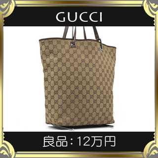 Gucci - 【真贋査定済・送料無料】グッチのトートバッグ・良品・本物・GGキャンバス・人気
