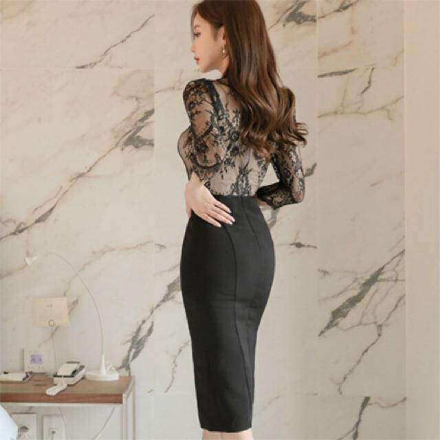 【本日限定セール】DURAS系♡韓国ファッション レース切替キャバドレスL レディースのフォーマル/ドレス(ナイトドレス)の商品写真
