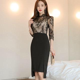 【本日限定セール】DURAS系♡韓国ファッション レース切替キャバドレスL