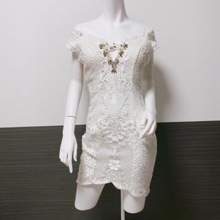 アン(an)の【an】キャバドレス ミニドレス バストアップ画像あり ホワイト(ナイトドレス)