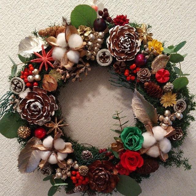 プリザーブド&ドライフラワー クリスマス リース ハンドメイドのフラワー/ガーデン(リース)の商品写真