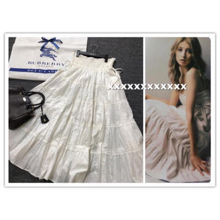 バーバリーブルーレーベル(BURBERRY BLUE LABEL)の美品 バーバリー ブルーレーベル  マキシ スカート  ひなの 白 ホワイト(ロングスカート)