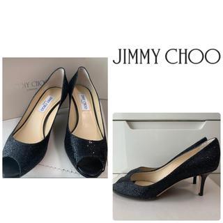 JIMMY CHOO - ジミーチュウ ブラックグリッター パンプス