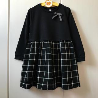 kumikyoku(組曲) - 1回のみ着ガールズ切り替えワンピース120黒チェック.リボン長袖カットソー