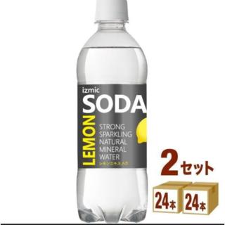 強炭酸水 izmic ソーダ レモン 500ml 48本 天然水 炭酸水 (ミネラルウォーター)