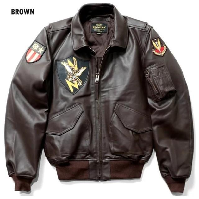 Houston/レザーCWU-45P/フライングタイガー/ブラウン メンズのジャケット/アウター(フライトジャケット)の商品写真