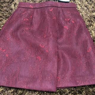 rienda - リエンダ 刺繍花 ボルドー スカート