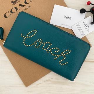 COACH - 限定モデル 新品 COACH コーチ 財布 高級感 ターコイズグリーン 緑色