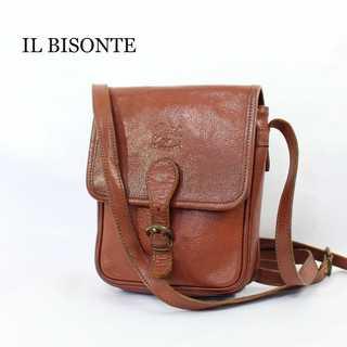 イルビゾンテ(IL BISONTE)のイルビゾンテ★イタリア製 レザー ロゴ 斜め掛け ショルダーバッグ 鞄 ミニ 茶(ショルダーバッグ)