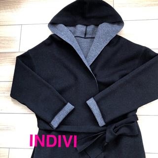 INDIVI - INDIVI  コーディガン風コート ブラック サイズ38(Mサイズ)