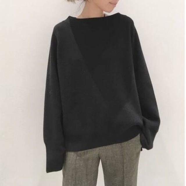 L'Appartement DEUXIEME CLASSE(アパルトモンドゥーズィエムクラス)の新品■ボートネック Wide Knit■ブラック■アパルトモン レディースのトップス(ニット/セーター)の商品写真