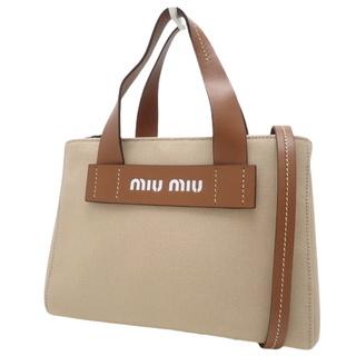 miumiu - ミュウミュウハンドバッグ カナパ CORDA+COGNAC ベージュ ブラウン茶