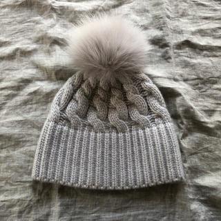 Drawer - 美品 Drawerドゥロワー 即完売フォックスカシミヤアランケーブル編みニット帽