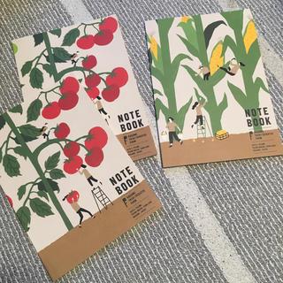 カゴメ(KAGOME)の【値下げ】カゴメ オリジナルノート B5 ☓3冊 (トマト2&トウモロコシ1)(ノート/メモ帳/ふせん)