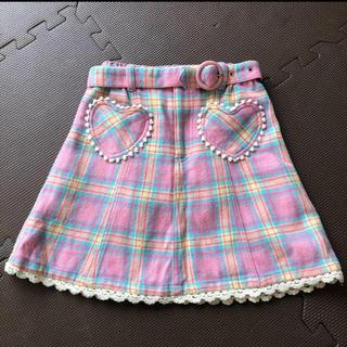 スカート  120  ピンク チェック ウール キッズ 子供服