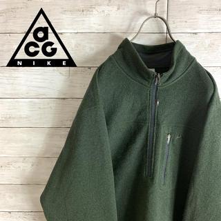 NIKE - 超レア 古着 ナイキ ACG スウェット トレーナー 刺繍ロゴ ハーフジップ 緑