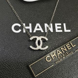 CHANEL - 正規品 シャネル ネックレス シルバー ココマーク 両面 ラインストーン ロゴ