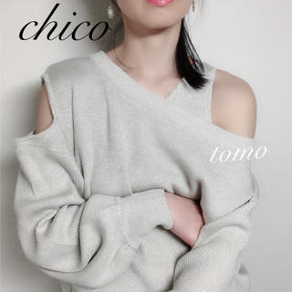 who's who Chico - 新品❁フーズフーチコ ワンショルレイヤードタンク付きニット