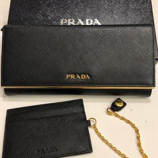 PRADA - 美品★PRADA プラダ  長財布 サフィアーノ メタル 黒