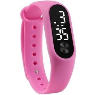 LED デジタル デザイン ウオッチ シリコン バンド 防水 ピンク(腕時計(デジタル))