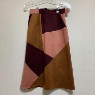 チャオパニック(Ciaopanic)のスエード素材 ロングスカート パッチング(ロングスカート)