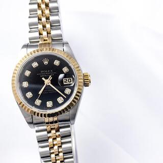 ROLEX - 【保証書付】ロレックス 10P ダイヤ 黒文字盤 コンビ レディース 腕時計