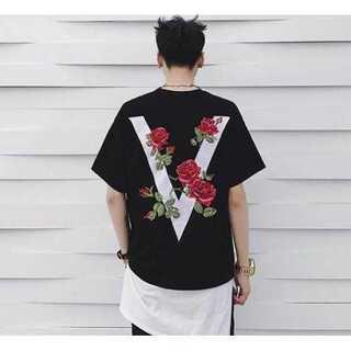 訳アリシャツ 黒 バラ Tシャツ シャツ ブラック メンズ オーバーサイズ