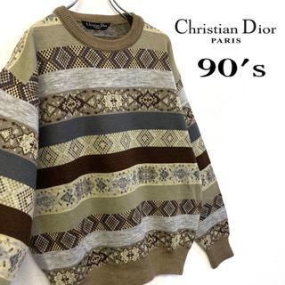 クリスチャンディオール(Christian Dior)の美品 日本製 90's Christian Dior ニット 総柄 セーター(ニット/セーター)