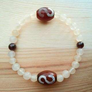 【天然石】金銭鉤天珠アラゴナイトブレスレット