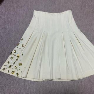 ビジュー付きスカート アイボリー✖️シルバーラメ(ひざ丈スカート)