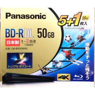 パナソニック2倍速ブルーレイディスク片面2層50GB5+1枚LM-BR50W6S