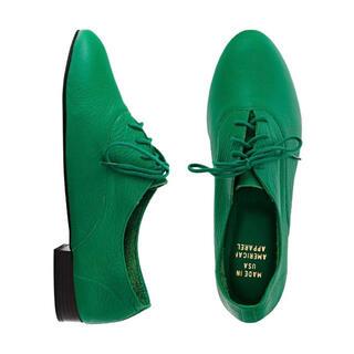 American Apparel - アメアパ レースアップシューズ 本革 リアルレザー オックスフォード 革靴 緑