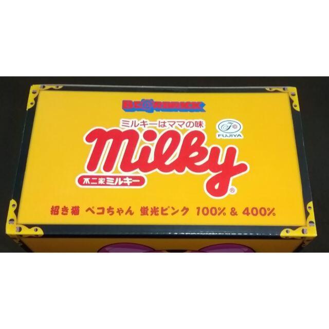 MEDICOM TOY(メディコムトイ)のBE@RBRICK 招き猫 ペコちゃん 蛍光ピンク 100% & 400% エンタメ/ホビーのおもちゃ/ぬいぐるみ(ぬいぐるみ)の商品写真