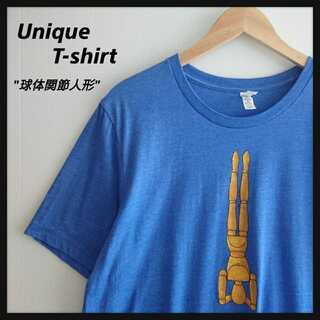 1066【個性的】CANVAS 球体関節人形 ユニーク Tシャツ ブルーXL