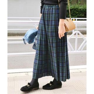 IENA - IENA イエナ チェックプリーツスカート ネイビー 36サイズ
