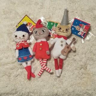 カルディ(KALDI)のカルディ*クリスマスくたくたネコちゃん3種セット(ぬいぐるみ)