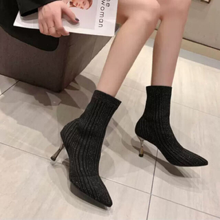 GYDA - アンクルブーツ(ブラック)ショートブーツ ピンヒール ハイカット ブーツ