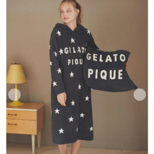 gelato pique(ジェラートピケ)の'パウダー'スタージャガードフードドレス レディースのルームウェア/パジャマ(ルームウェア)の商品写真