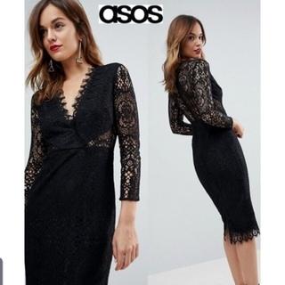 asos - Mサイズ相当ASOS*レースミディペンシルドレス/black