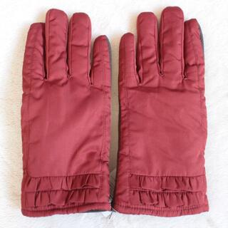 未使用 防寒 えんじ 赤 フリル ボア ファー 手袋 滑り止め