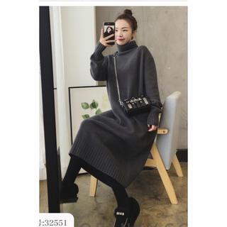 dholic - 韓国ファッション 人気のニットワンピース ロングワンピース グレー