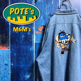 【エムアンドエムズm&m's】ビッグキャラ刺繍・刺繍ロゴWポケットデニムシャツ